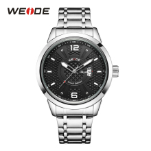 WEIDE Quartz Sport Water Resistant Watches Men Analog Clock Black Dial Auto Date Waterproof Stainless Steel Band Solar Energy