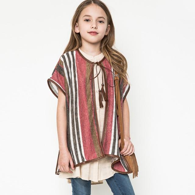 Fashion Summer Girls Poncho Kids Thin Striped Outerwear Tassel Knit ...