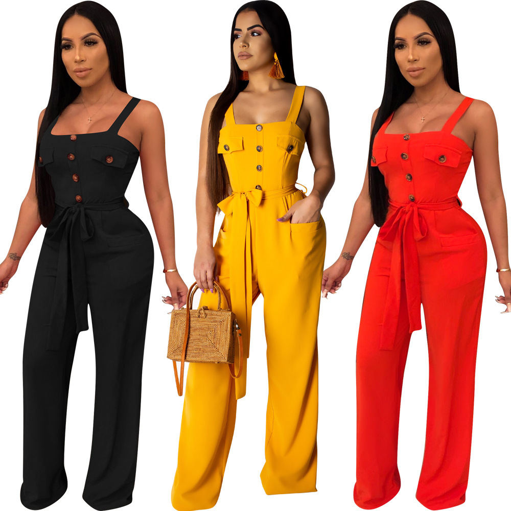 2019 Women's Summer Spaghetti Strap High Waist With Belts Casual Romper Classic Sleeveless Straight Beach Jumpsuit Suit L5311