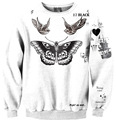 2016 NEW High Quality Women Digital Printing 3D Beautiful Butterfly Bird All-match Fashion Leisure Hoodie Female Sweatshirts