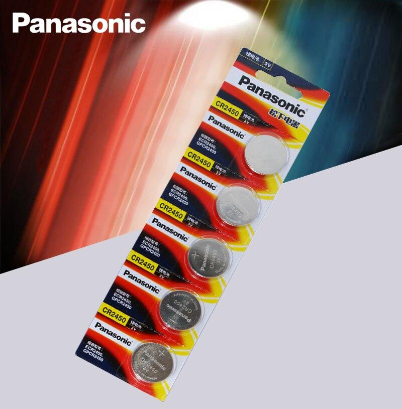 5 шт. оригинальный литиевый кнопочный аккумулятор Panasonic CR2450 CR 2450 3 в, батарейки для часов, часов, слуховых аппаратов