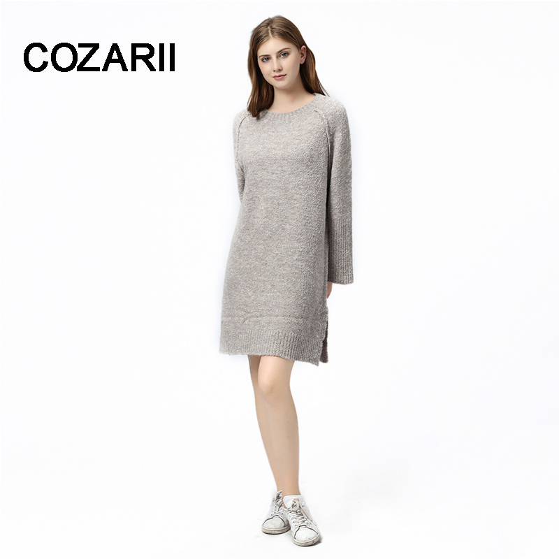 COZARII2018 new European and American style long sweater dress was thin section loose-knit sweater dress