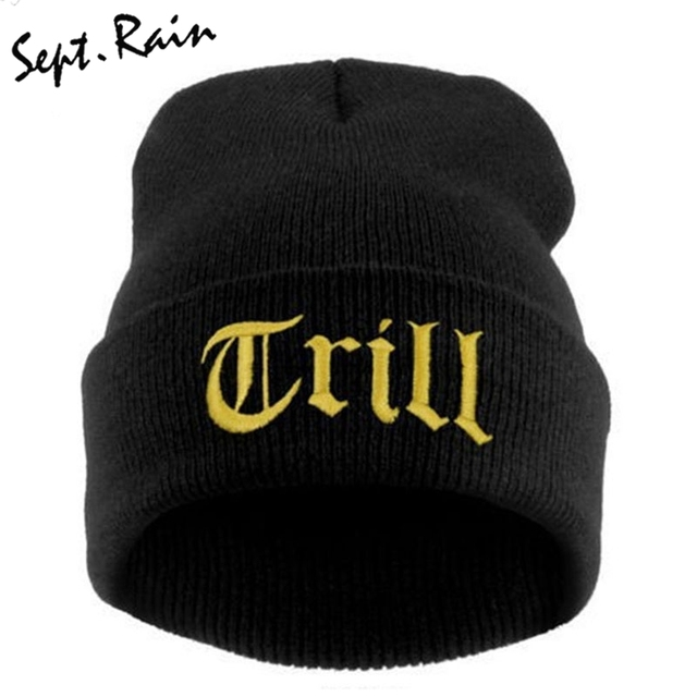 New TRILL Knit Beanie Hat Cap Men Hiphop Winter Caps Knitted Hats for Women  Men Skullies and Beanies Solid Bonnet Gorro 87e0bb6e1c4