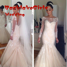 custom made fashion mermaid wedding dress 2017 boat neck appliques lace beaded bridal marry gowns vestidos noiva