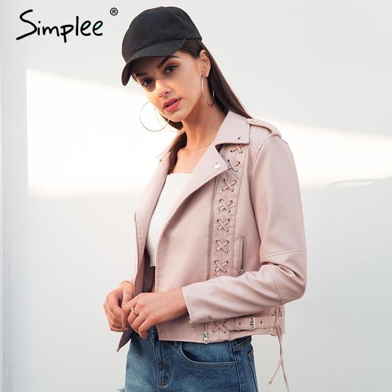 Simplee Кружево до PU кожаная куртка женские красивые мотоциклетные искусственная кожа пальто 2018 Новая мода байкерская куртка верхняя одежда