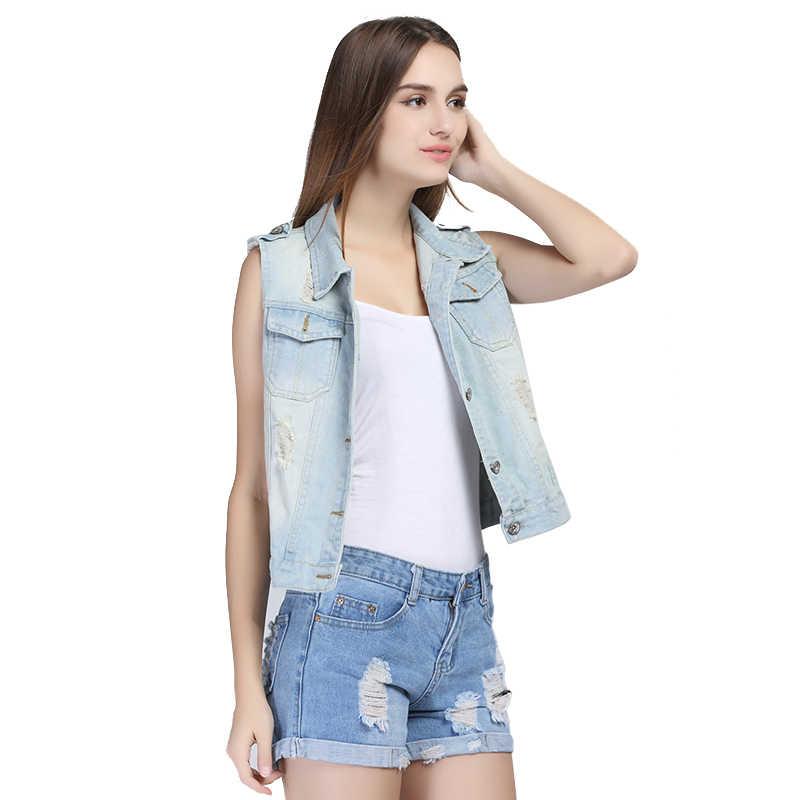 Inverno à venda marca plus size 4xl 6xl denim colete feminino sem mangas novo 2019 outono rasgado buracos botão moda jeans colete topos
