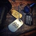 Mcllroy militar dos homens titanium aço colares dog tag colar e cadeia de bola dos homens hiphop ouro colar dog tag 83 gravado