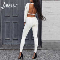 INDRESSME Sexy Deep V Long Sleeve Women Bandage Jumpsuits Solid Hollow Out Backless Women Bodysuits Fashion Full Bodycon Romper