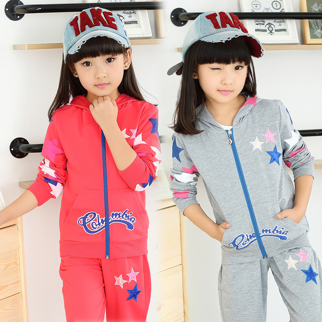 Children's Clothing 2016 Child's Long-Sleeve+Pants/Set 2 Pieces Kids Clothes Sports Set Twinset Zipper Sweater Hooded Girs Sets