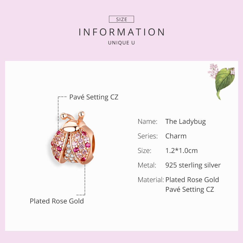 BAMOER New Arrival 925 Sterling Silver Ladybug Pink Cubic Zircon Insect Charms Beads fit for Bracelets BAMOER New Arrival 925 Sterling Silver Ladybug Pink Cubic Zircon Insect Charms Beads fit for Bracelets DIY Jewelry SCC1120