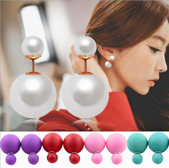 Stud Earrings: New Fashion Paragraph Hot Selling Earrings Double Side Shining Pearl Stud Earrings Big Pearl Earrings For Women 1338