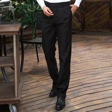 Мужские длинные брюки прямые брюки корейский стиль мужские свободные черные комбинезоны леггинсы брюки для мужчин