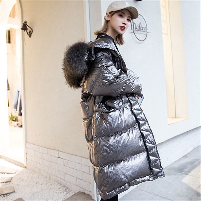 Glossy Silver Down Jacket Coat Women 2019 Winter Thicken Short Jackets Hooded Parka Womens Large Size Loose Outerwear Warm Hs647 Women's Clothing Down Coats