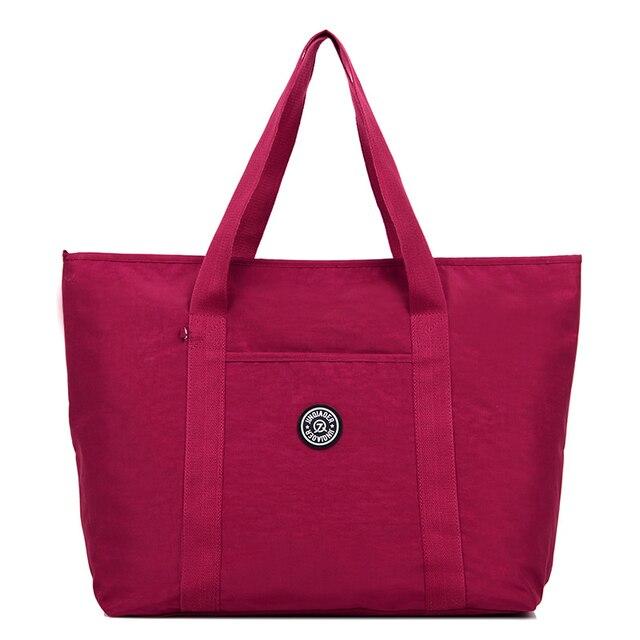 Hot grandes sacolas para as mulheres À Prova D' Água Sacola de Compras Saco de nylon saco da bagagem do Curso do Sexo Feminino Bolsa de Ombro Para As Mulheres Bolsa feminina
