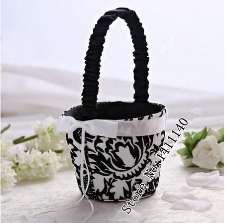 White and black damask flower girl basket wedding ceremoney from bshgvgminjayyruk2jg mightylinksfo