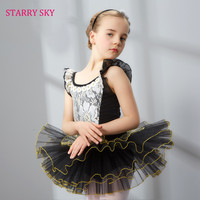 2017 Children Ballet Dance Clothing Gold Wire Lace Dresses Body Practice Cotton Level Examination Serve Child