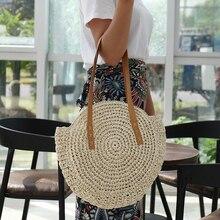 Bolsos de playa de paja redonda Vintage tejido hombro de ratán bohemio verano  bolso de mimbre mujer bolso de mano diseñador de m. 4ea998cc9ae