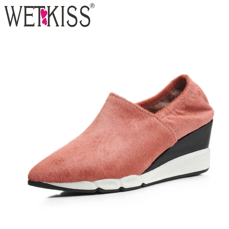 ФОТО WETKISS 2017 Genuine Leather Horsehair Shoes for Women Comfort Slip on Wedges Women Pumps Spring Pointed toe Platform Shoes