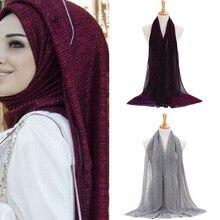 bbcdd26007d2 Shimmer Plissé Hijab Écharpe Plaine Brillant Froissé Châle De Mode Musulman  Hijabs Femmes Maxi Voiles Châles