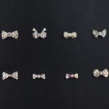 Decorações para arte em unhas 3d 10 unidades/pacote, cristais de unhas borboleta, diamantes, arco, pedrinhas de glitter para joias de unhas, acessórios de decoração