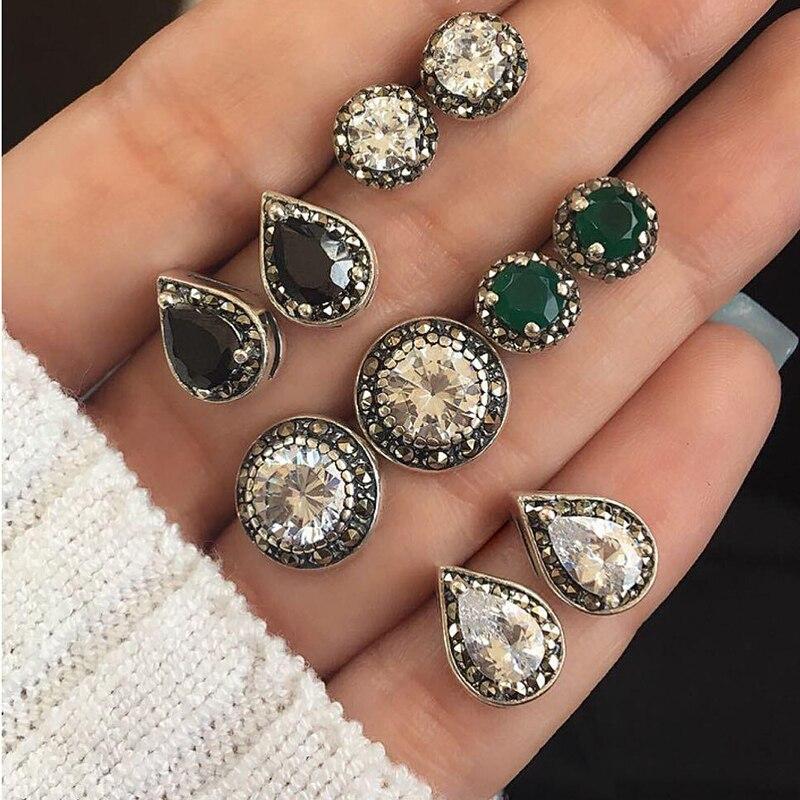 Tisonliz 4pairs/set Bohemian Water Drop Black Green Crystal Stud Earrings Set Vintage Stud Earrings For Women Lady Beach Jewelry Jade White Jewelry & Accessories