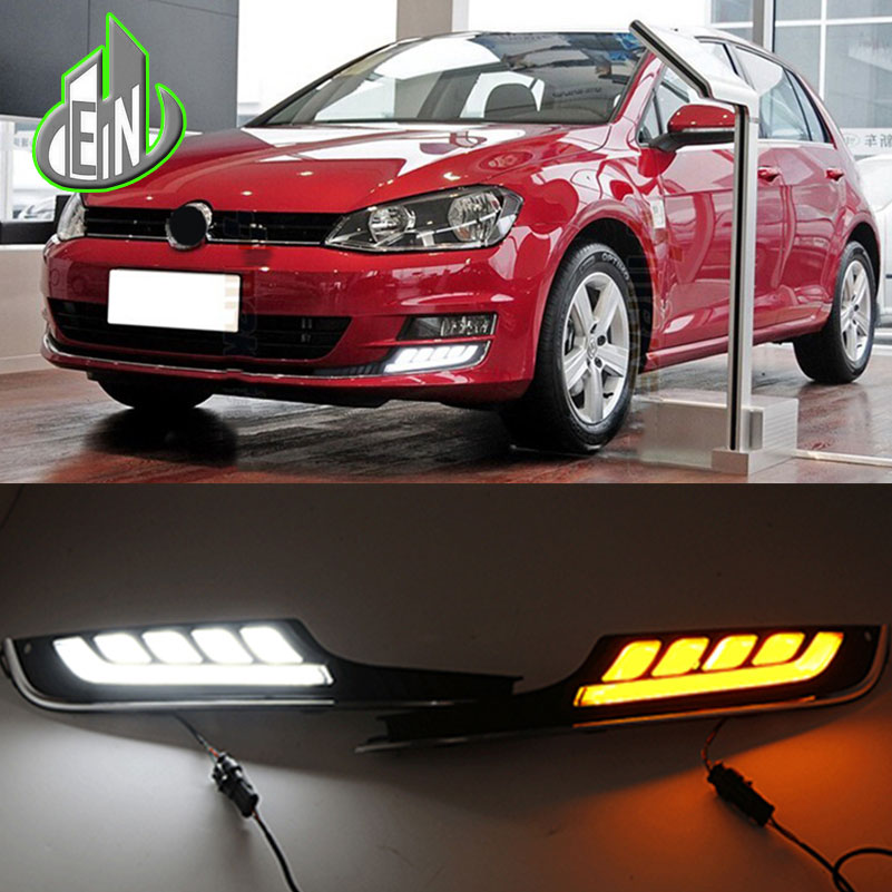 EN Car Styling LED DRL Daytime Running Light For Volkswagen VW Golf 7 MK7 2013-2017 LED Bumper DRL With Yellow Turn Signal auto led car bumper grille drl daytime running light driving fog lamp source bulb for vw volkswagen golf mk4 1997 2006 2pcs