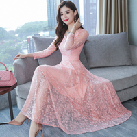 Fall winter 2018 clothes for women lace dresses autumn long sleeve maxi dress pink black plus size large party runway One piece