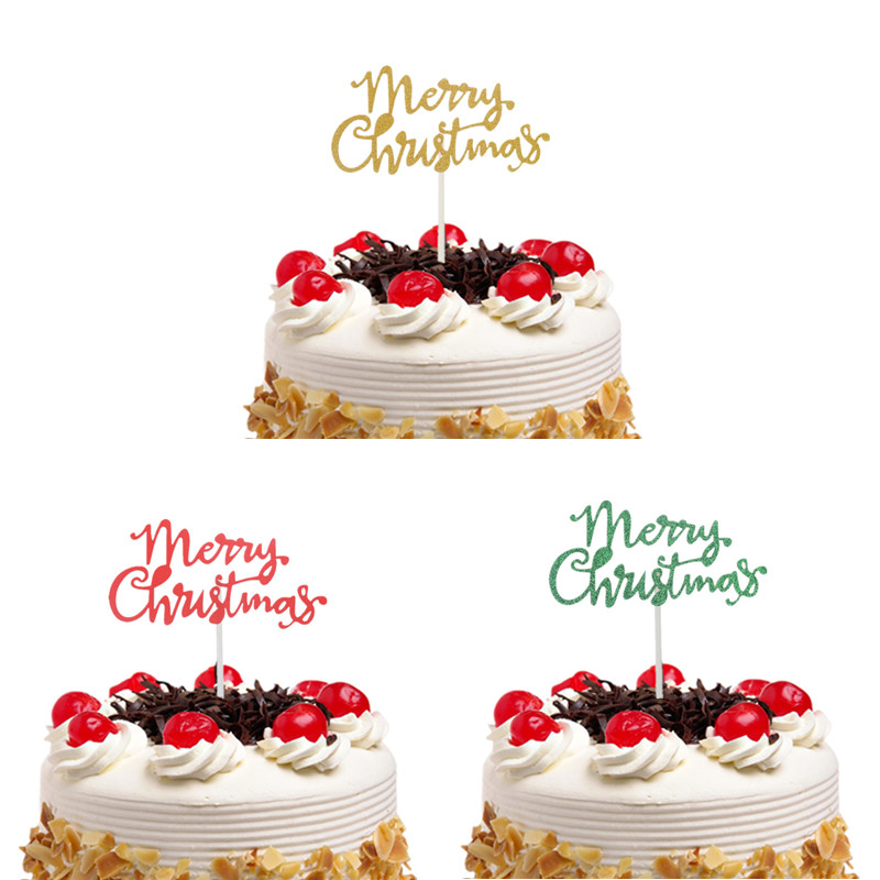 Merry Christmas Cake Topper Flags Gillter Santa Claus Cake Topper Kids Happy Birthday Wedding Baby Shower Party Baking DIY Decor