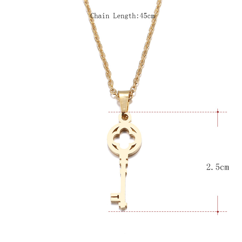 Hibobi Necklace Women Stainless Steel Jewelry Key Trendy Necklaces Pendants Chain Donot Fade Valentine's Day Gift (4)