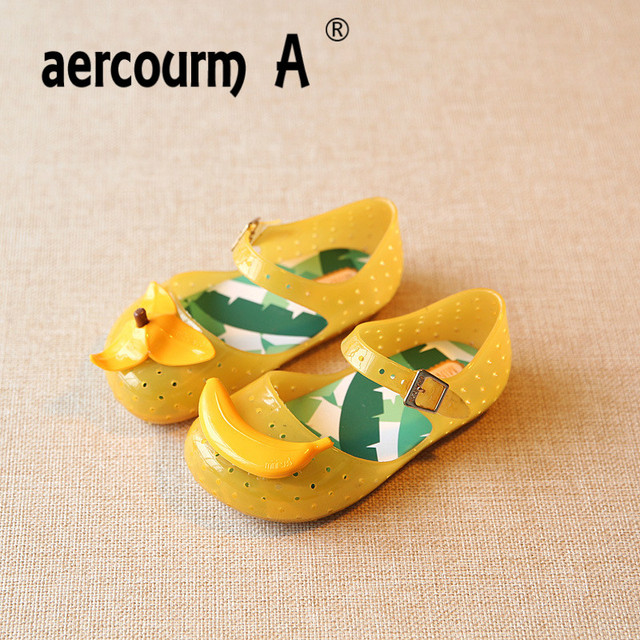 95d4bc6a415d Aercourm A 2018 Girls Summer Sandals Jelly Shoes Sandals Baby Rain Boots  Breathable Shoes Banana Shoes Hollow Children Sandals