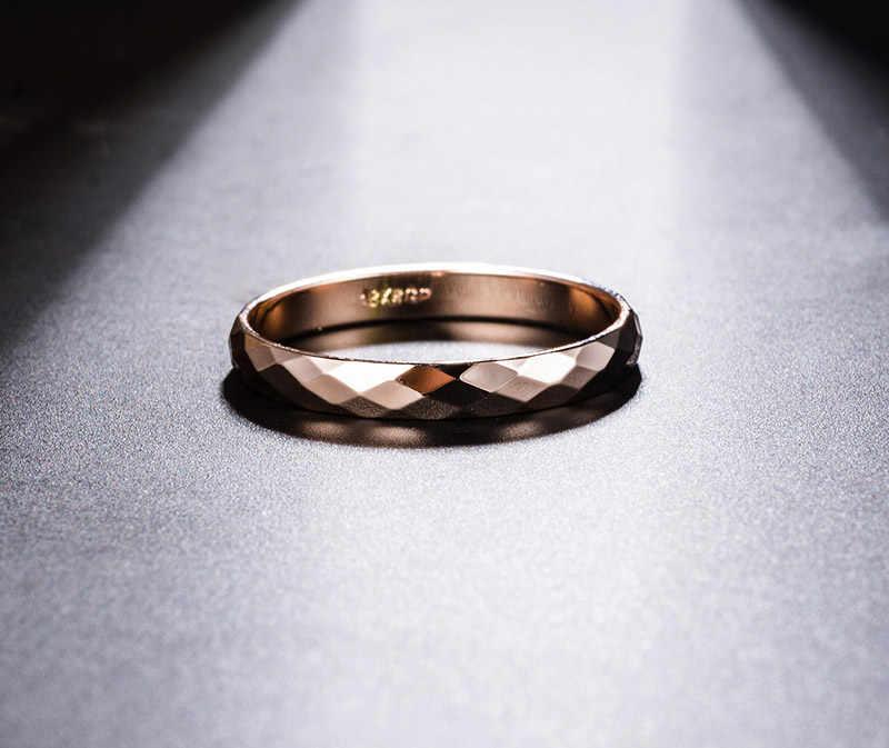 USTAR เรขาคณิต Rhombus สำหรับผู้หญิงผู้ชายเครื่องประดับ Rose gold สีชายชายแหวนหญิง Anel อุปกรณ์เสริมของขวัญคุณภาพสูง