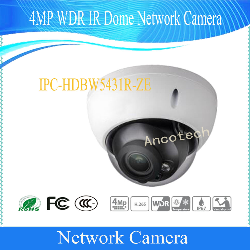 Free Shipping DAHUA CCTV Security IP Camera 4MP WDR IR Dome Network Camera IP67 IK10 With POE Without Logo IPC-HDBW5431R-ZE free shipping dh security ip camera 2mp 1080p ir mini dome network camera ip67 ik10 with poe without logo ipc hdbw4231f as