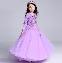 Neue Blume Verschönern langarm Kleid Formale Blumenmädchen Kleid Kinder Pageant Brautjungfer Hochzeit Prom Party kleid
