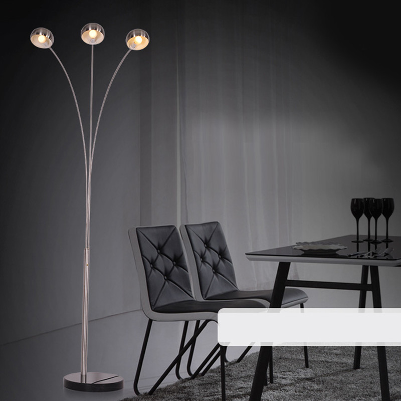 Modern Style High Quality Stainless Steel Floor Lamp Light With 3 E14 Lights Stand Lambader