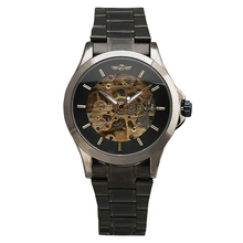 WINNER Noble Fromal Business Men s Mechanical Wrist Watch Retro Classic Skeleton Design Golden Movement With