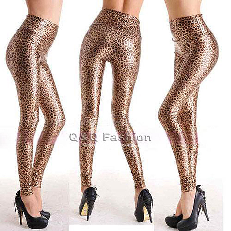 Image 3 - Highwaist Shiny Pu PVC Metallic Leather Wetlook Leather Leggings Stretch Hot Pants Thigh High Dropshipping-in Leggings from Women's Clothing