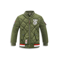 Winter Jackets For Boys Children Army Green Parka Cotton Patches Military Coats Tops Kids Brand Thicken