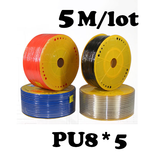 PU8*5  5M/lot Free shipping PU Pipe 8*5mm for air & water Pneumatic parts pneumatic hose ID 5mm OD 8mm