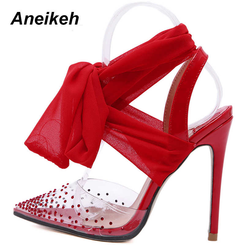 01dc3e17eb8 Aneikeh 2019 Summer Shoes Woman Pumps High Thin Heels Pointed Toes Rhinestone  Butterfly Bling Gladiator Pumps
