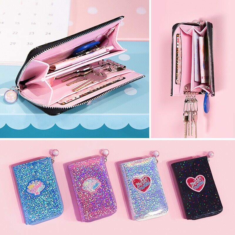Bentoy Colorful Laser Coin Purse ID Credit Card Bag Milkjoy Key Case Mini Wallet Women Key Bag Purse Key Holder Organizer Pouch