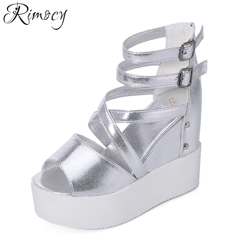 Rimocy summer fashion ankle strap height increase shoes woman high platform peep toe wedges sandals women sexy black sandalias