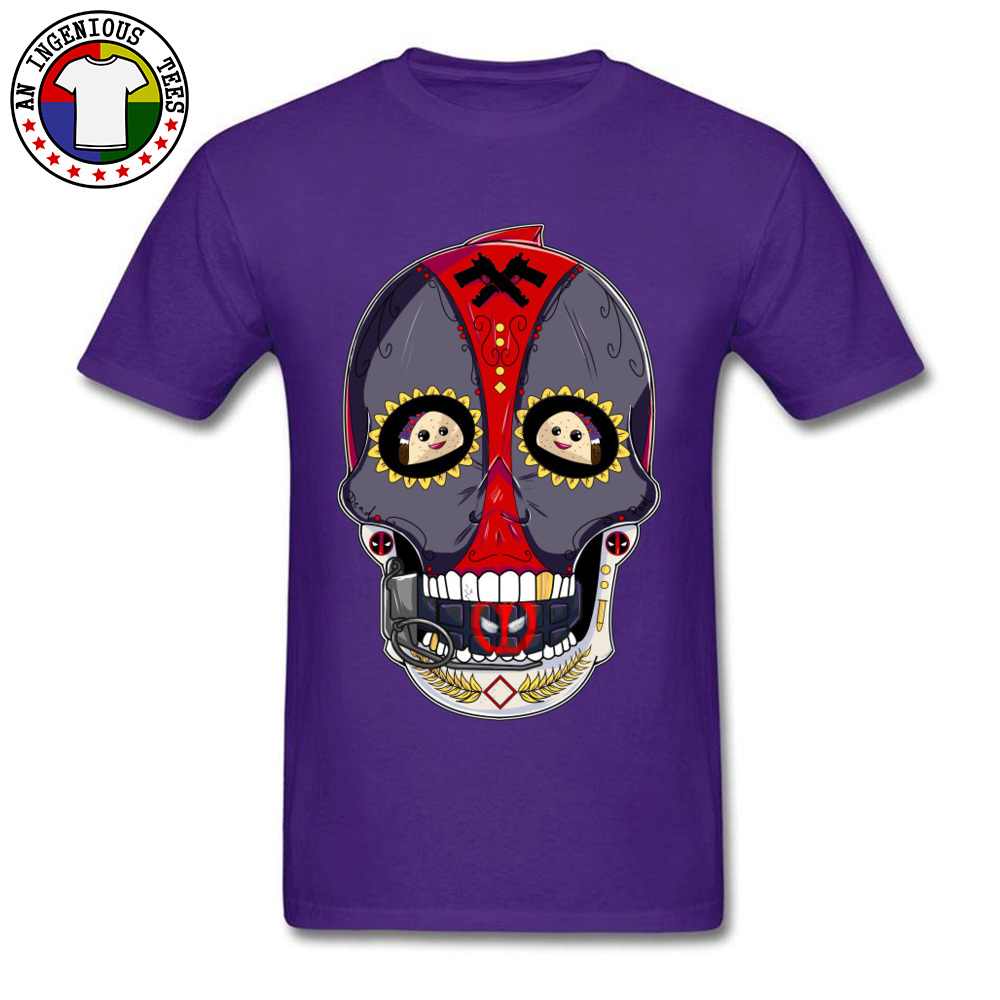 Tees Deadpool Sugar Skull 1226 T-Shirt Summer Fall Company Normal Short Sleeve All Cotton Round Neck Men's T-Shirt Normal Deadpool Sugar Skull 1226 purple