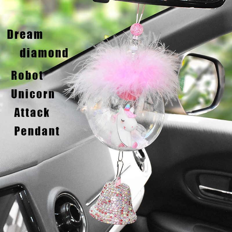 HerMia Cute Doll Cartoon Crystal Tassel Car Pendant Hanging Ornament Car Interior Decoration Car Accessories Home D/écor Pink