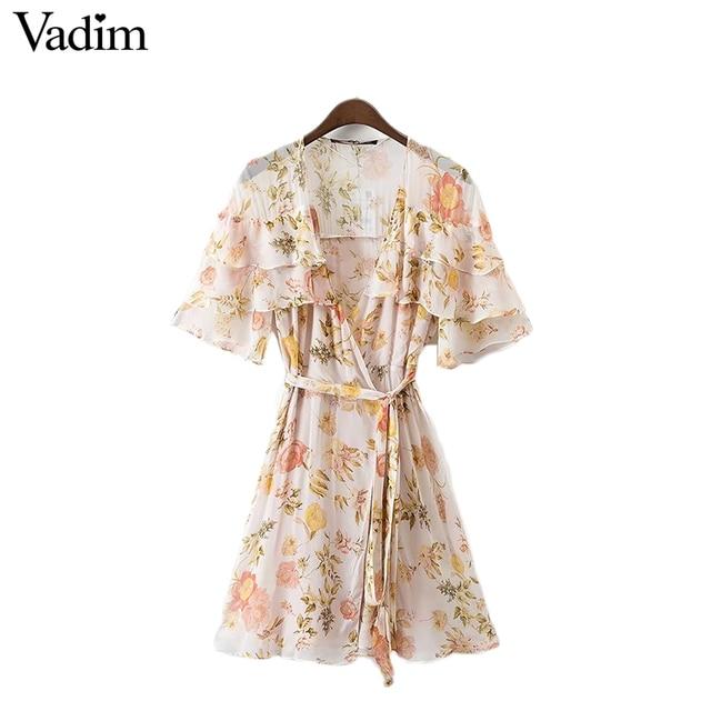 Vadim женщины сексуальная v шеи оборками цветочные шифона dress пояса с коротким рукавом линия лето повседневные платья vestidos mujer qz3029