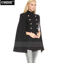 Autumn And Winter New   2016  Military  Style  Women Blends  Loose Style Clock Women Coats Free Shipping l390