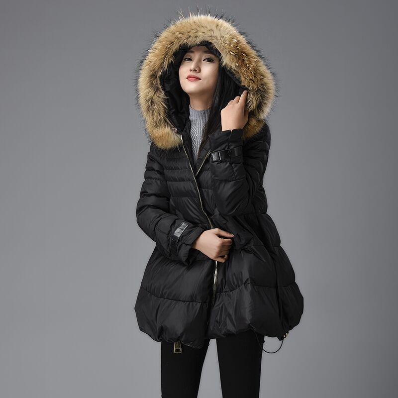 New winter coat Girls hooded long section of thick padded waist coat Y209