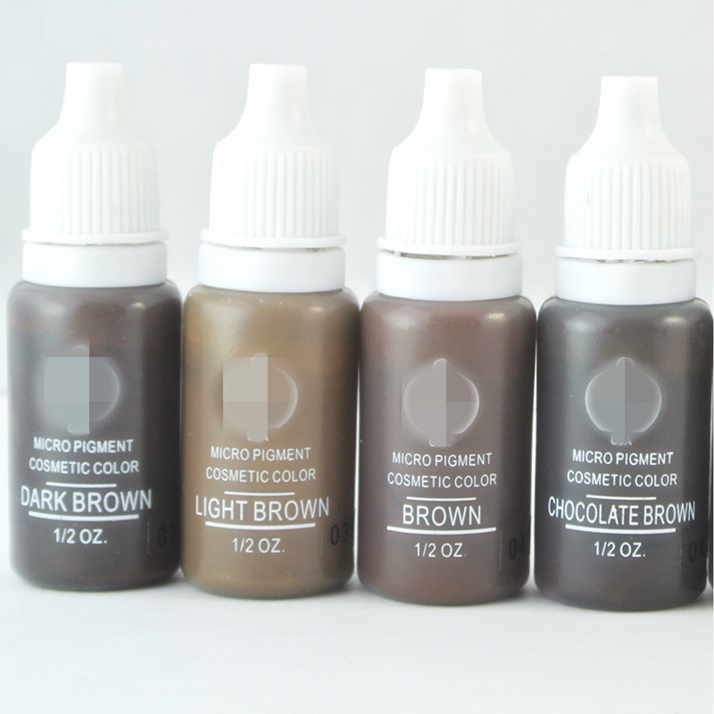 4 colores Maquillaje permanente Micro pigmentos Set BTCH Tattoo Ink Cosmetic 15ml Kit Para Tatuaje de Cejas Labio Maquillaje color mezclado