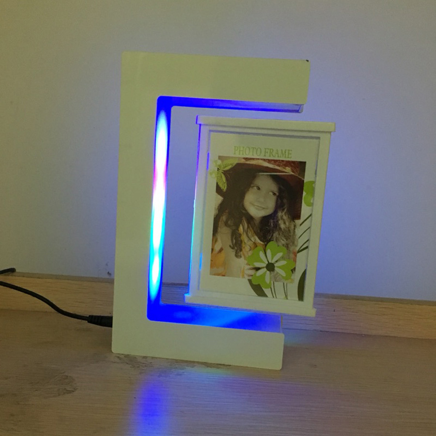 E shape white magnetic levitation floating photo frame with e shape white magnetic levitation floating photo frame with colorful led lights for girl friend birthday gifts home decoration in frame from home garden jeuxipadfo Images