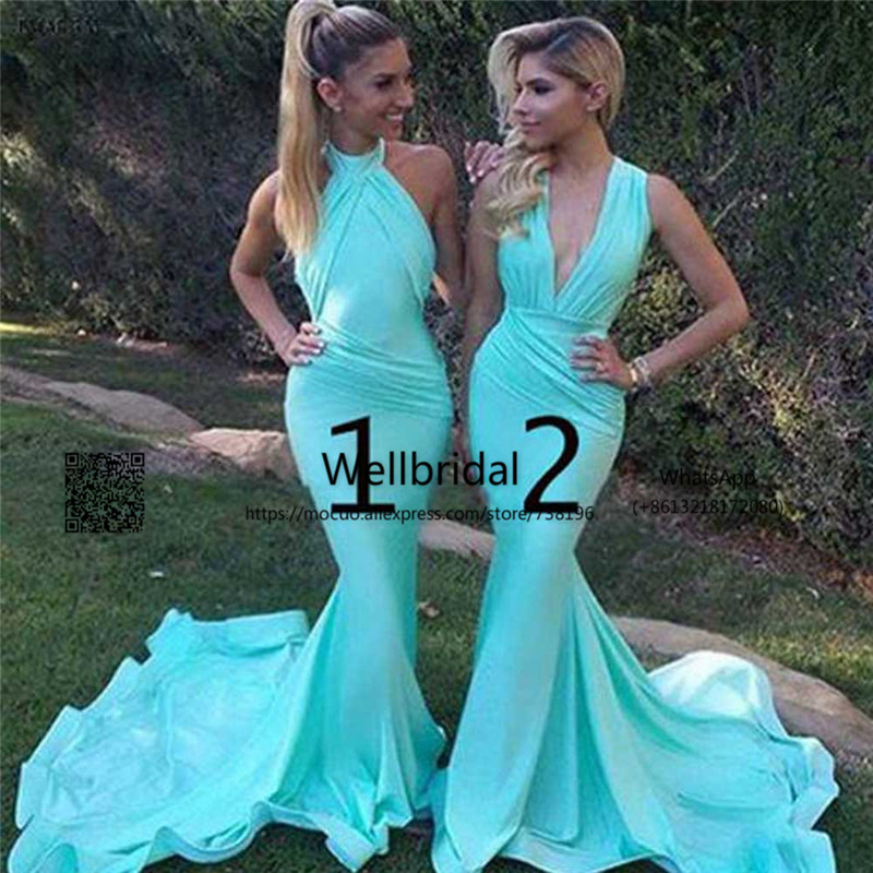 Unique Mermaid   Bridesmaid     Dresses   with AB Design Off shoulder Halter Chiffon Wedding Party   Dress   Formal   bridesmaid     dress