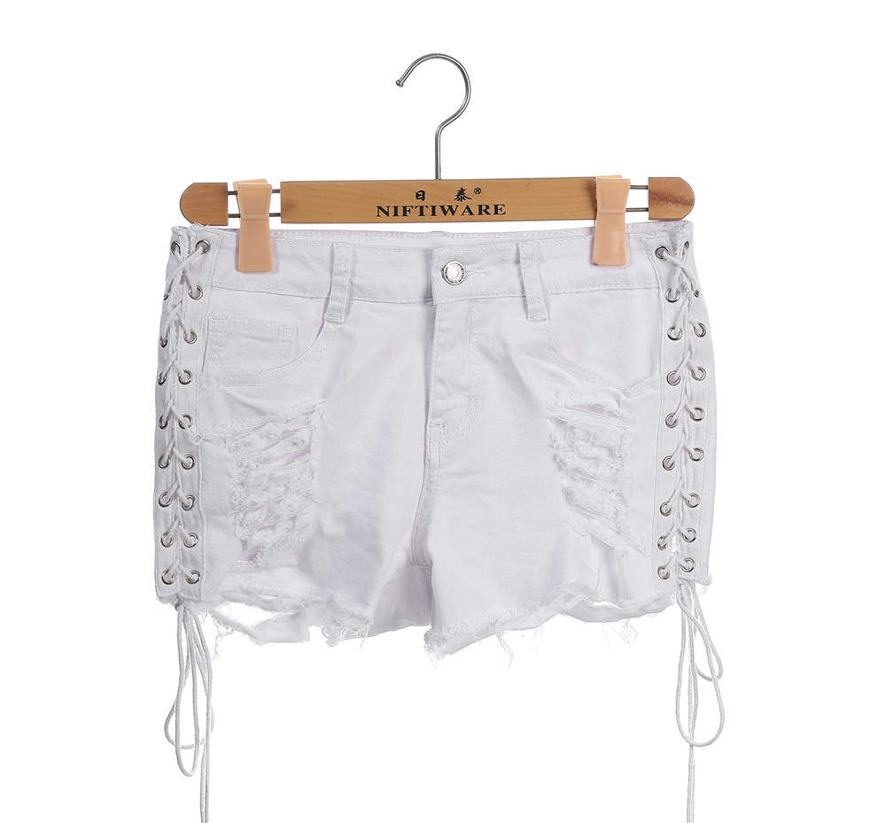 Sexy side lace up denim shorts Women hollow out pocket white short jeans Summer 2017 casual